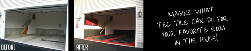 Garage makeover before and after tec tile flooring
